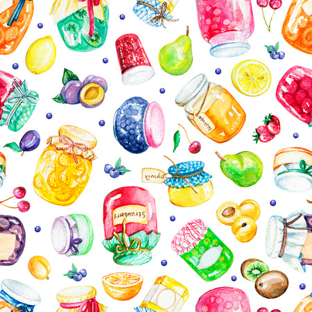 Seamless pattern with jars of jam and fruits isolated on white background. Watercolor hand drawn illustration