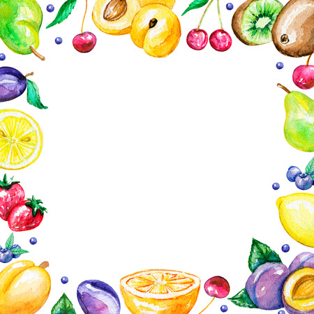 Square bright frame with fruits. Watercolor hand painted illustration
