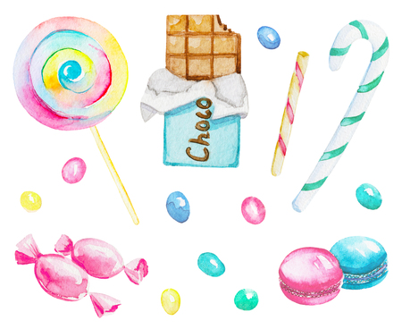 Watercolor set of candies isolated on white background. Watercolor hand painted illustration