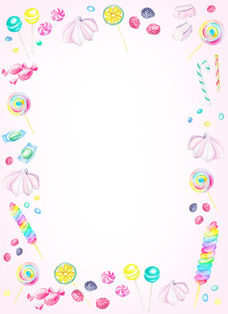 Watercolor rectangular pink frame of candies. Watercolor hand painted illustration