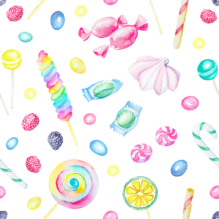 Seamless pattern with candies and lollipop isolated on white background. Watercolor hand drawn illustration