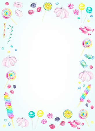Watercolor rectangular blue frame of candies. Watercolor hand painted illustration Stock Photo