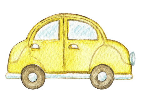 Yellow retro cartoon car isolated on white background. Watercolor hand painted illustration