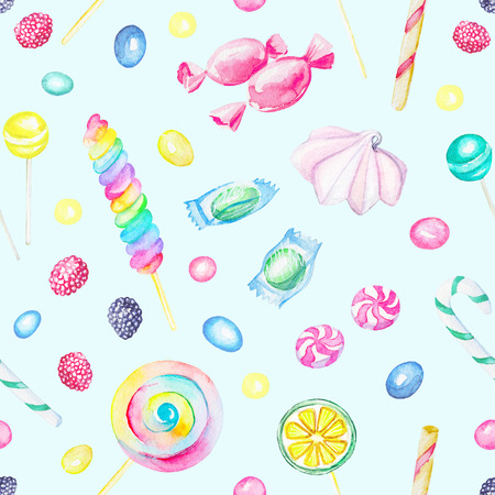 Seamless pattern with candies and lollipop isolated on blue background. Watercolor hand drawn illustration Stock Photo