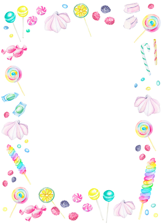Watercolor rectangular white frame of candies. Watercolor hand painted illustration