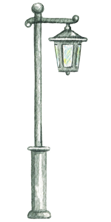 Street light isolated on white background. Watercolor hand painted illustration