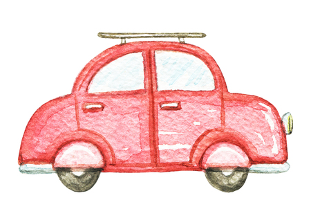 Red retro cartoon car isolated on white background. Watercolor hand painted illustration Imagens