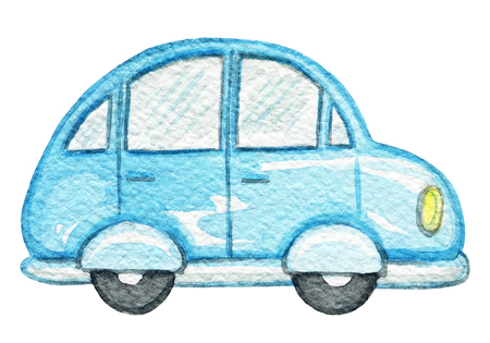 Blue retro cartoon car isolated on white background. Watercolor hand painted illustration