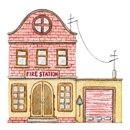 Red brick cartoon fire station building isolated on white background. Watercolor hand painted illustration Stok Fotoğraf - 121790928