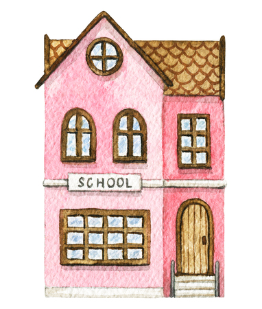 Pink cartoon school building isolated on white background. Watercolor hand painted illustration Imagens