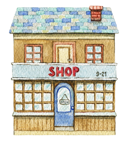 Brown two-story shop building isolated on white background. Watercolor hand painted illustration Stockfoto