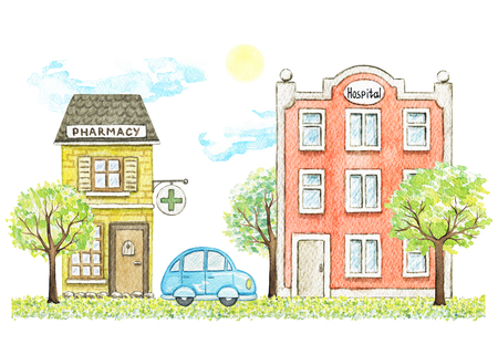 Composition with cute cartoon pharmacy and hospital buildings, blue car, trees, grass and sky isolated on white background. Watercolor hand painted illustration Stok Fotoğraf - 121791087