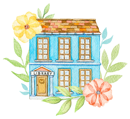 Blue cartoon library building in flowers isolated on white background. Watercolor hand painted illustration Stok Fotoğraf - 121791088