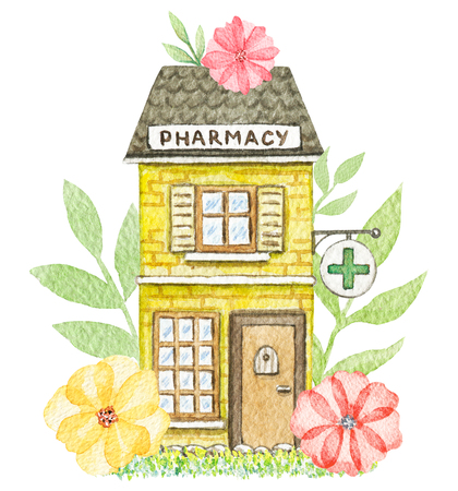 Yellow cartoon pharmacy building in flowers isolated on white background. Watercolor hand painted illustration