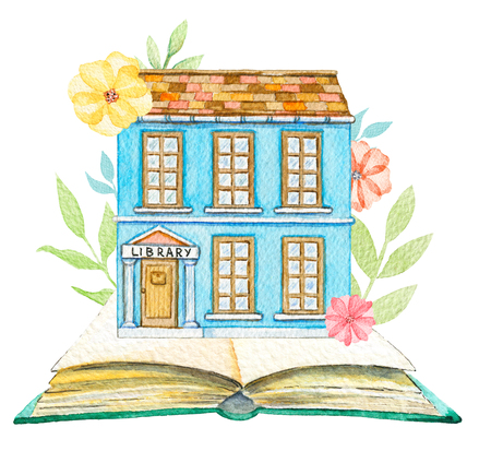 Blue cartoon library building in flowers located on a big book isolated on white background. Watercolor hand painted illustration Stok Fotoğraf