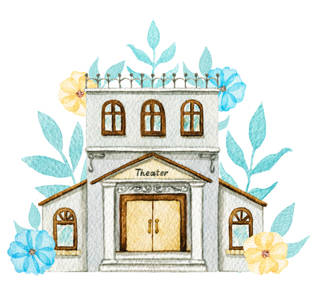 Gray cartoon theater building in flowers isolated on white background. Watercolor hand painted illustration