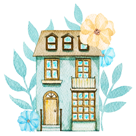 Gray cartoon cute two-story cottage in flowers isolated on white background. Watercolor hand painted illustration Zdjęcie Seryjne
