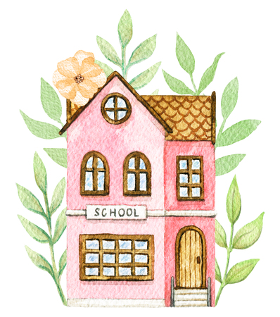 Pink cartoon school building in flowers isolated on white background. Watercolor hand painted illustration