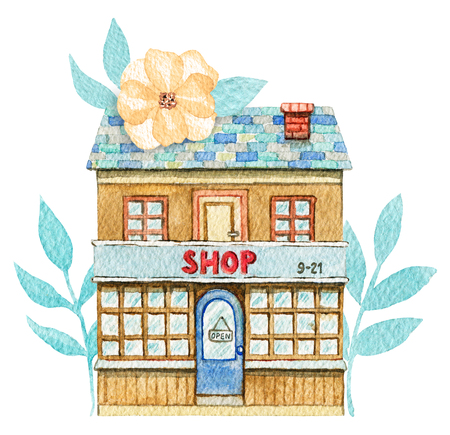 Cartoon shop building in flowers isolated on white background. Watercolor hand painted illustration Stock Photo