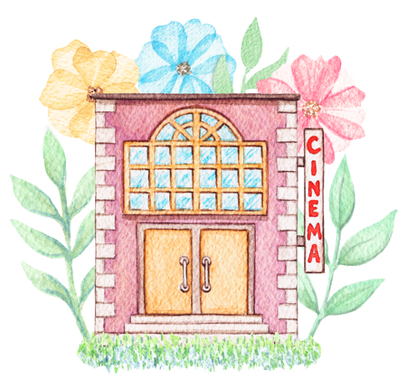 Violet cartoon cinema building in flowers isolated on white background. Watercolor hand painted illustration
