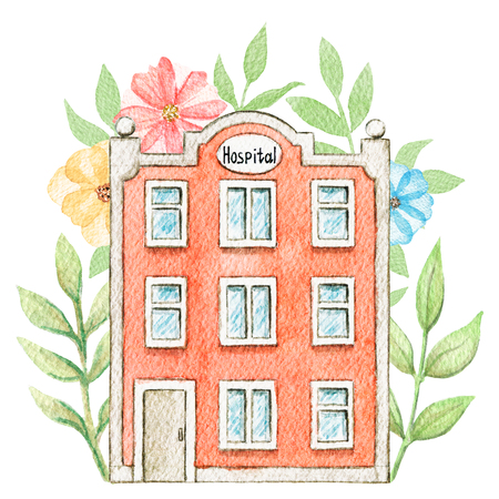 Cartoon hospital building in flowers isolated on white background. Watercolor hand painted illustration Stock Photo