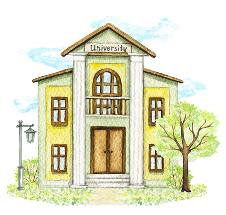 Yellow cartoon university building surrounded by tree, bushes, grass, street lamp and sky isolated on white background. Watercolor hand painted illustration