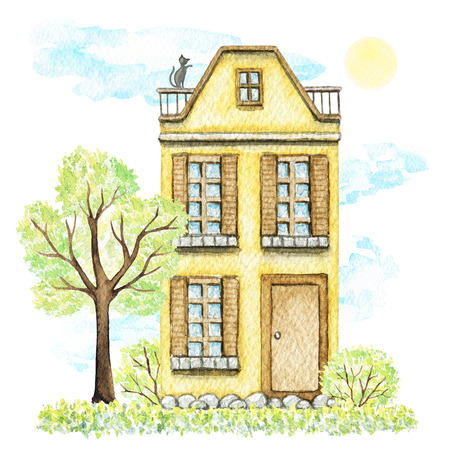 Yellow cartoon cute two-story cottage surrounded by tree, bushes, grass, sky and sun isolated on white background. Watercolor hand painted illustration