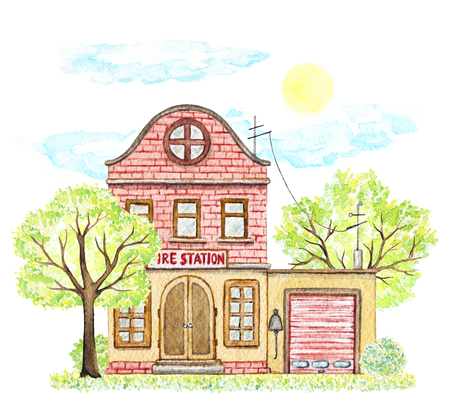 Red brick cartoon fire station building surrounded by trees, bushes, grass, sky and sun isolated on white background. Watercolor hand painted illustration