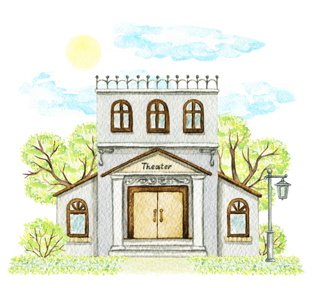 Gray cartoon theater building surrounded by trees, bushes, grass, street lamp, sky and sun isolated on white background. Watercolor hand painted illustration