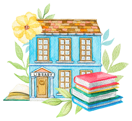 Blue cartoon library building in flowers with pile of books isolated on white background. Watercolor hand painted illustration