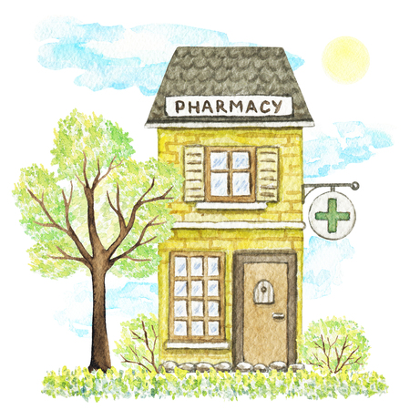 Yellow cartoon pharmacy building surrounded by tree, bushes, grass, sky and sun isolated on white background. Watercolor hand painted illustration