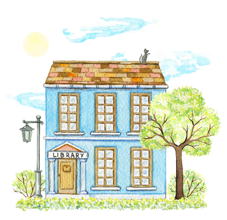Blue cartoon library building surrounded by tree, bushes, grass, street lamp, sky and sun isolated on white background. Watercolor hand painted illustration