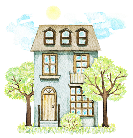 Grey cartoon cute two-story cottage surrounded by trees, bush, grass, sky and sun isolated on white background. Watercolor hand painted illustration Stock Photo