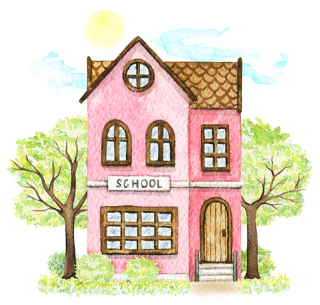 Pink cartoon school building surrounded by trees, bushes, grass, sky and sun isolated on white background. Watercolor hand painted illustration