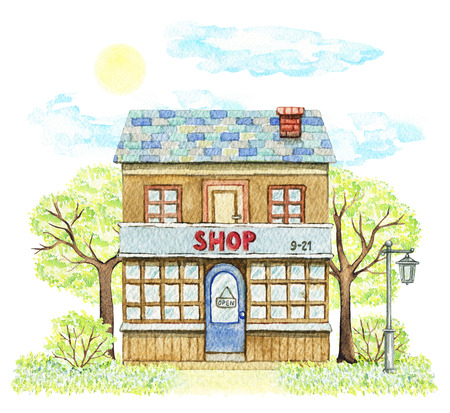 Old cartoon shop building surrounded by trees, bushes, streetlight, grass, sky and sun isolated on white background. Watercolor hand painted illustration