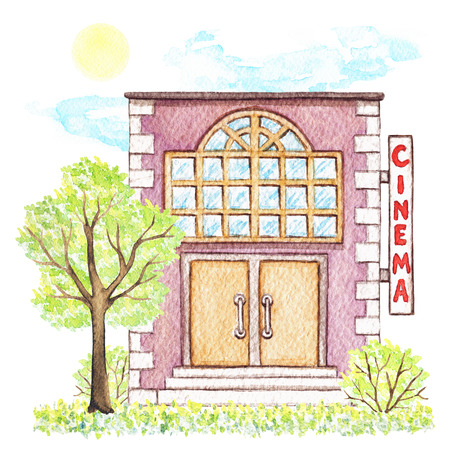 Violet cartoon cinema building surrounded by tree, bushes, grass, sky and sun isolated on white background. Watercolor hand painted illustration