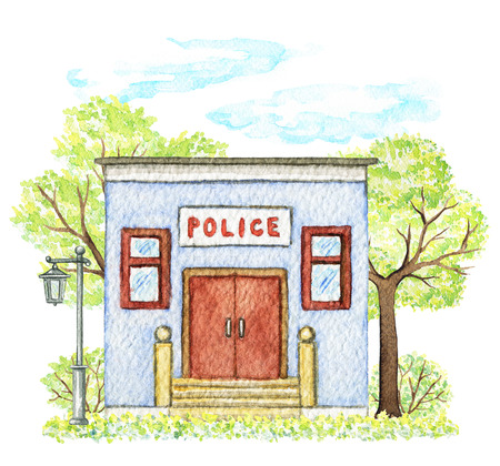 Blue cartoon police office building surrounded by trees, bushes, streetlight, grass, sky and sun isolated on white background. Watercolor hand painted illustration Stok Fotoğraf