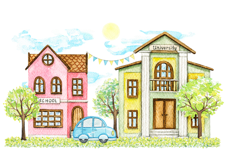 Composition with cartoon school and university buildings surrounded by trees, bushes, blue car, grass, sky and sun isolated on white background. Watercolor hand painted illustration
