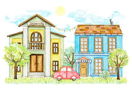 Composition with cartoon library and university buildings surrounded by trees, bushes, red car, grass, sky and sun isolated on white background. Watercolor hand painted illustration