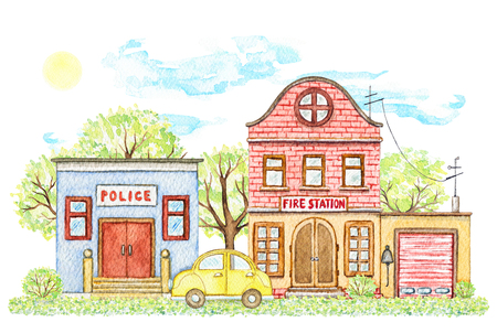 Composition with cartoon fire station and police office buildings surrounded by trees, bushes, grass, yellow car, sky and sun isolated on white background. Watercolor hand painted illustration
