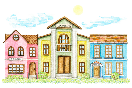 Composition with cartoon school, library and university buildings surrounded by bushes, grass, sky and sun isolated on white background. Watercolor hand painted illustration Stock Photo