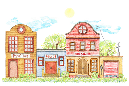 Composition with cartoon fire station, post and police offices buildings surrounded by trees, bushes, grass, sky and sun isolated on white background. Watercolor hand painted illustration Stock Photo