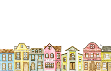 Border with cute cartoon city buildings isolated on white background. Watercolor hand painted illustration