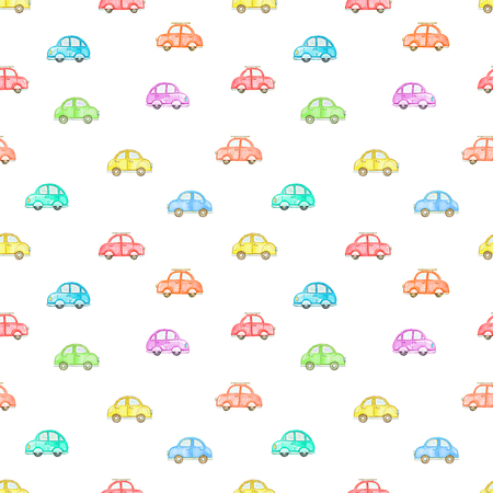 Seamless pattern with cute cartoon multicolored cars isolated on white background. Watercolor hand painted illustration Stock Photo