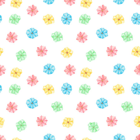 Seamless floral pattern with cute cartoon multicolored daisies isolated on white background. Watercolor hand painted illustration Stok Fotoğraf