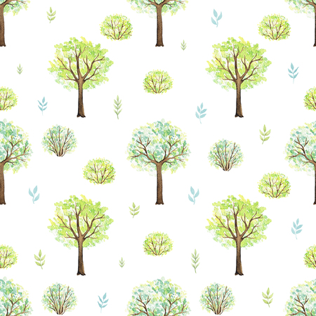 Seamless pattern with cute cartoon trees and bushes in park isolated on white background. Watercolor hand painted illustration