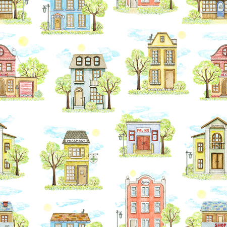 Seamless pattern with cute cartoon city buildings surrounded by landscape isolated on white background. Watercolor hand painted illustration