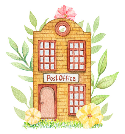 Orange cartoon post office building in flowers isolated on white background. Watercolor hand painted illustration