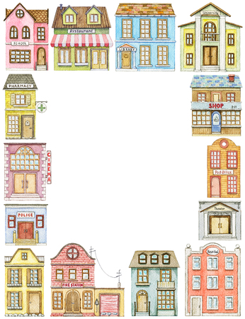 Rectangle frame with cute cartoon city buildings isolated on white background. Watercolor hand painted illustration