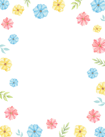 Rectangle frame with cute cartoon multicolored daisies isolated on white background. Watercolor hand painted illustration